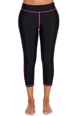 Rosy Seam Detail Black Swim Capris