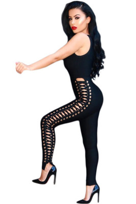 Black Lace Up Side Sleeveless Bandage Jumpsuit