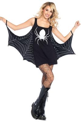 Schwarzes Jersey Kleid Spiderweb Cosplay Kostüm