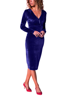 Royal Blue V Neck Sleek Velvet Midi Dress