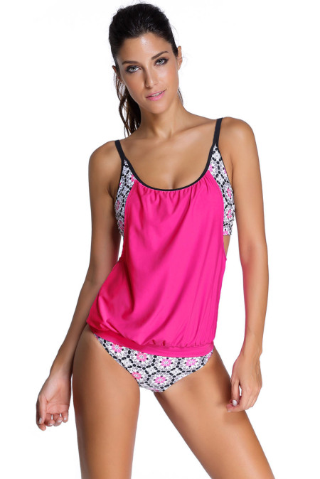 Rosy Layered-Style Printed Tankini with Triangular Briefs
