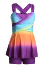 Purple Ombre Tie Dye Swim Dress with Shorts