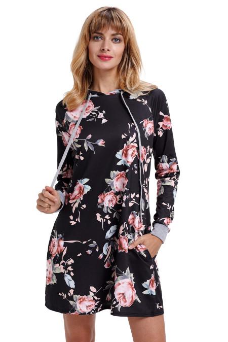 Schwarzes Blumendruck-Kordelzug-Hoodie-Kleid