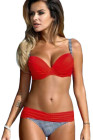 Sexy Red Padded Gather Push-up Bikini Set