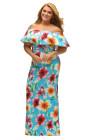 Turquoise Roses Print Off-the-shoulder Maxi Dress