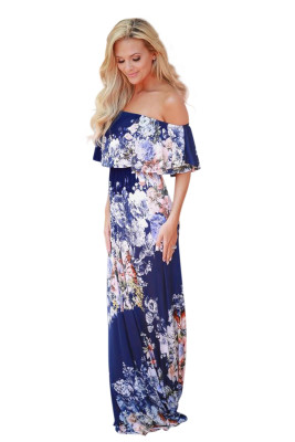 Blue Ruffle Off Shoulder Floral Print Maxi Boho Dress