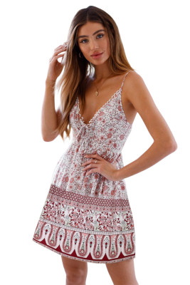 White Floral Pattern Tank Slip Dress
