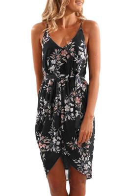 Vestido con estampado floral de verano con cuello en V profundo negro