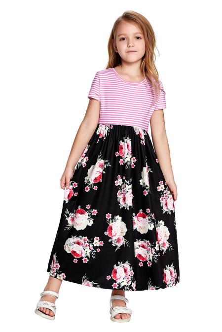 أسود مخطط الأزهار طباعة ليتل بنات فستان ماكسي