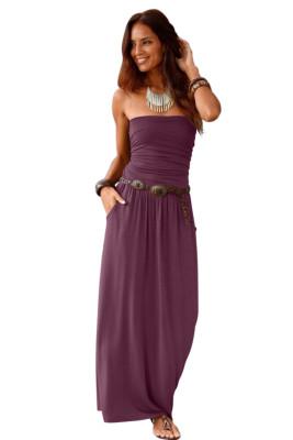 Robe maxi sans bretelles corset à taille empire