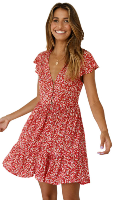 Red Floral Print Valentina Dress