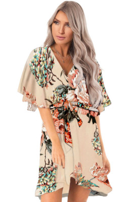 Apricot Floral Print V Neck Wrap Dress with Ruffle Sleeves