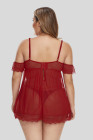 Plus velikost mimo rameno Red Babydoll