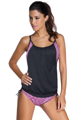 Purple Layered-Style Printed Tankini with Triangular Briefs