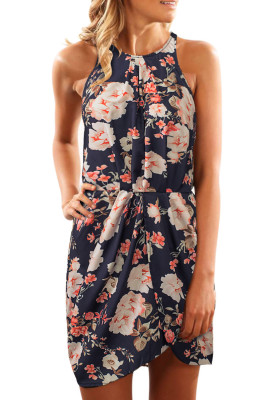 Halter Neck Black Floral Print Sleeveless Mini robe occasionnelle