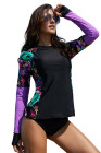 Floral Sleeve Rashguard Swimsuit