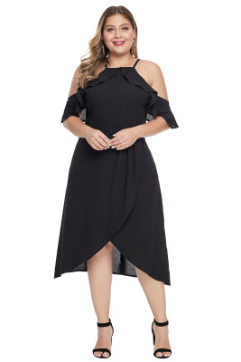 Black Off Shoulder Drop Sleeve Plus Size Dress