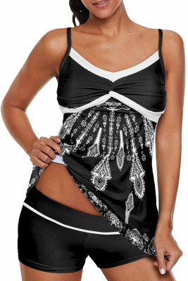 Black Twist Pleated Bust Flared Tankini Set Swimsuit
