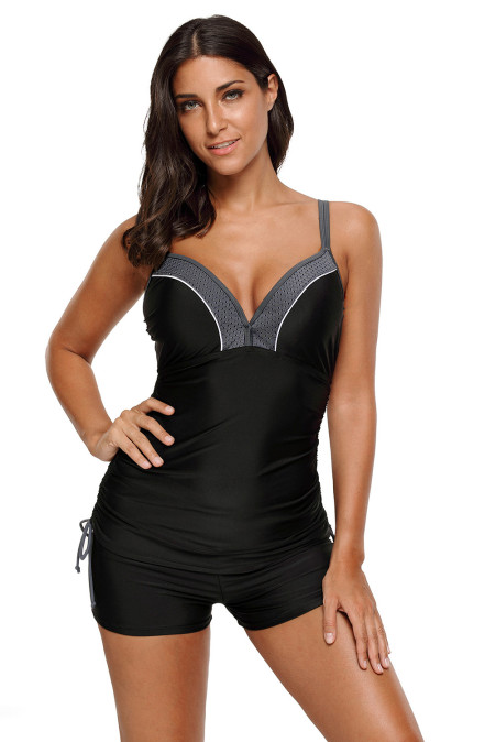 Black Ruched Ties Side Push Up Tankini Top