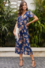Blue Wrap V Neck Floral Wide Leg Jumpsuit with Belt