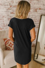 Black V Neck Cuffed T-shirt Dress