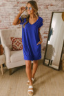 Blue V Neck Cuffed T-shirt Dress