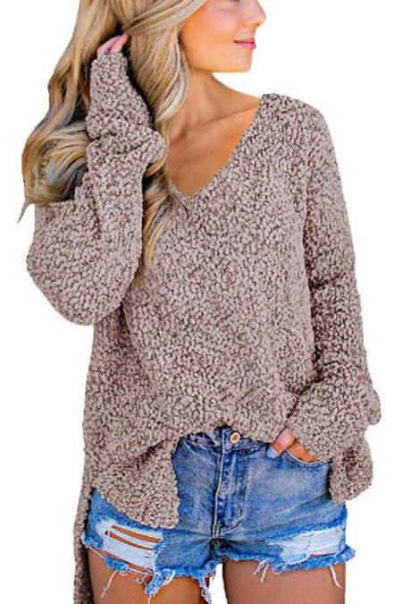 Khaki V-Ausschnitt Popcorn Textur Loose Fit Sweater
