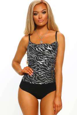 Night Fever Silver Metallic Zebra Print Bodysuit mit Wasserfallausschnitt