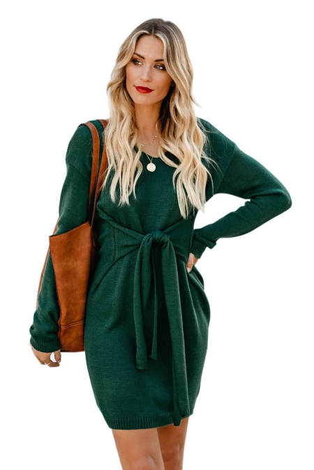 Green Dont Let Me Go Tie Sweater Dress