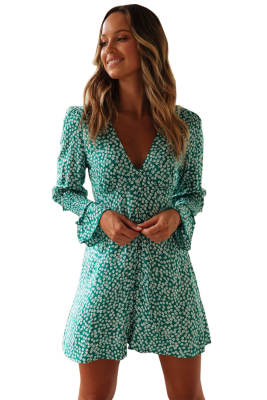 Green V Neck Floral Print Boho Ruffled Sleeve Dress
