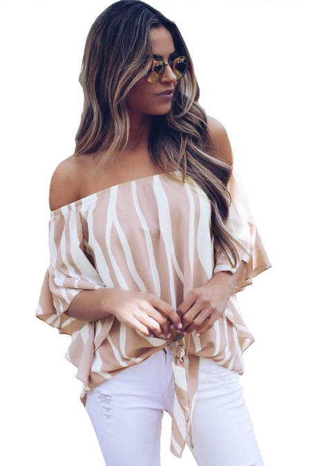 Off The Shoulder Stripes Blusa Vertical em Rosa