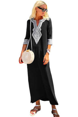 Vestido de verano de hendidura bordado de ganchillo casual negro