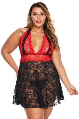 Red Sexy Lace Backless Halter Plus Size Babydoll