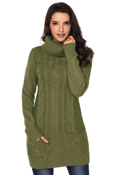 Olive Cowl Neck Cable Knit Sweater Dress