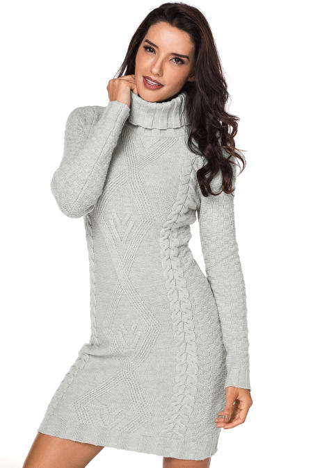 Gray Stylish Pattern Knit Turtleneck Sweater Dress
