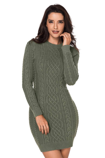 Army Green Slouchy Cable Sweater Dress