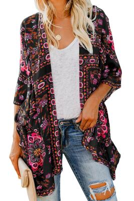 Black Floral Kimono Cardigan Open Front Cover Up