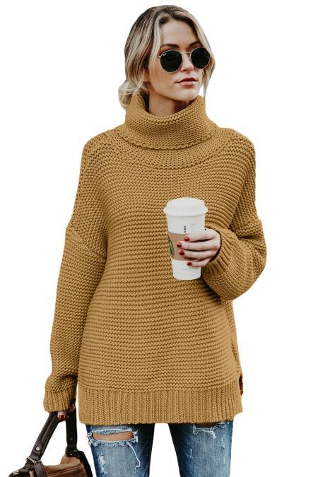 Suéter de cuello alto de manga larga acogedor caqui