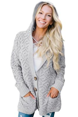 Gray Knit Hooded Cardigan