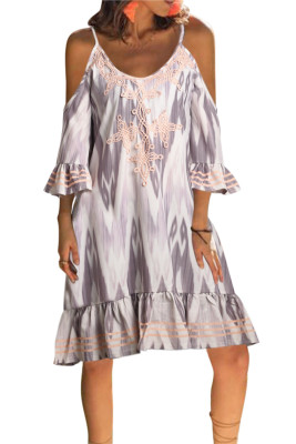 Orange Boho Floral Printed V Neck Vacation Dress