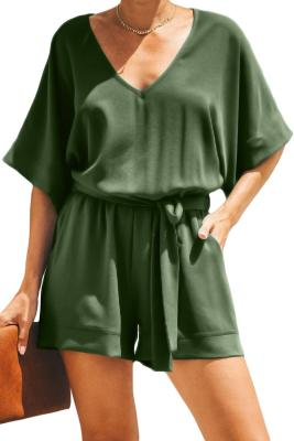 Army Green Spring Scene Pocketed Tie Romper