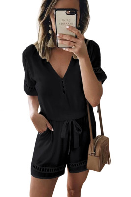 Black V Neck Short Sleeve Hollow Out Jumpsuit