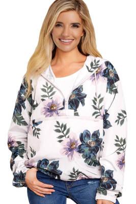 Jaqueta de chuva de impressão Floral branca