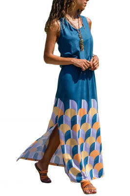 Blue Twist Hollow-out Back Long Tank Dress with Print