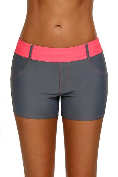 Coral Waistband Faux Denim Sports Shorts