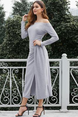 Gray Metallic Glitter Off Shoulder Prom Dress