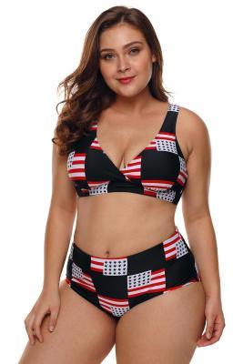 Amerikanische Flagge überprüft Plus Size Badeanzug