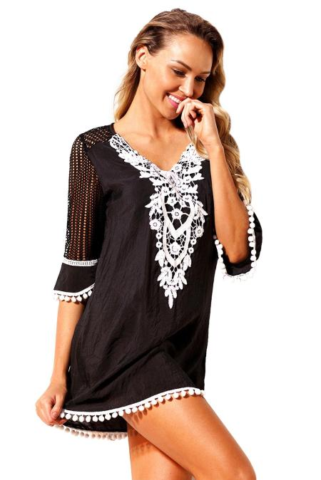Black Crochet Pom Pom Trim Beach Tunic Cover up