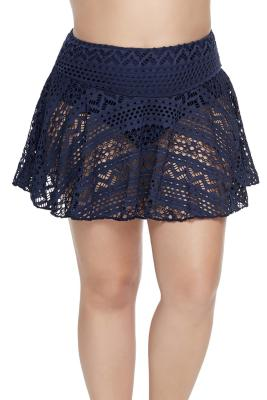 Blue Crochet Lace Skirted Bikini Bottom