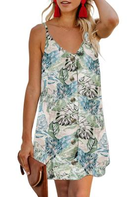 Sky Blue Floral Pattern Buttoned Slip Cami Dress